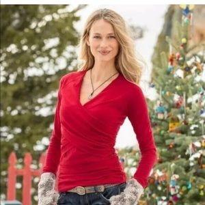 SUNDANCE |  Vanessa Long Sleeve Wrap Red Shirt